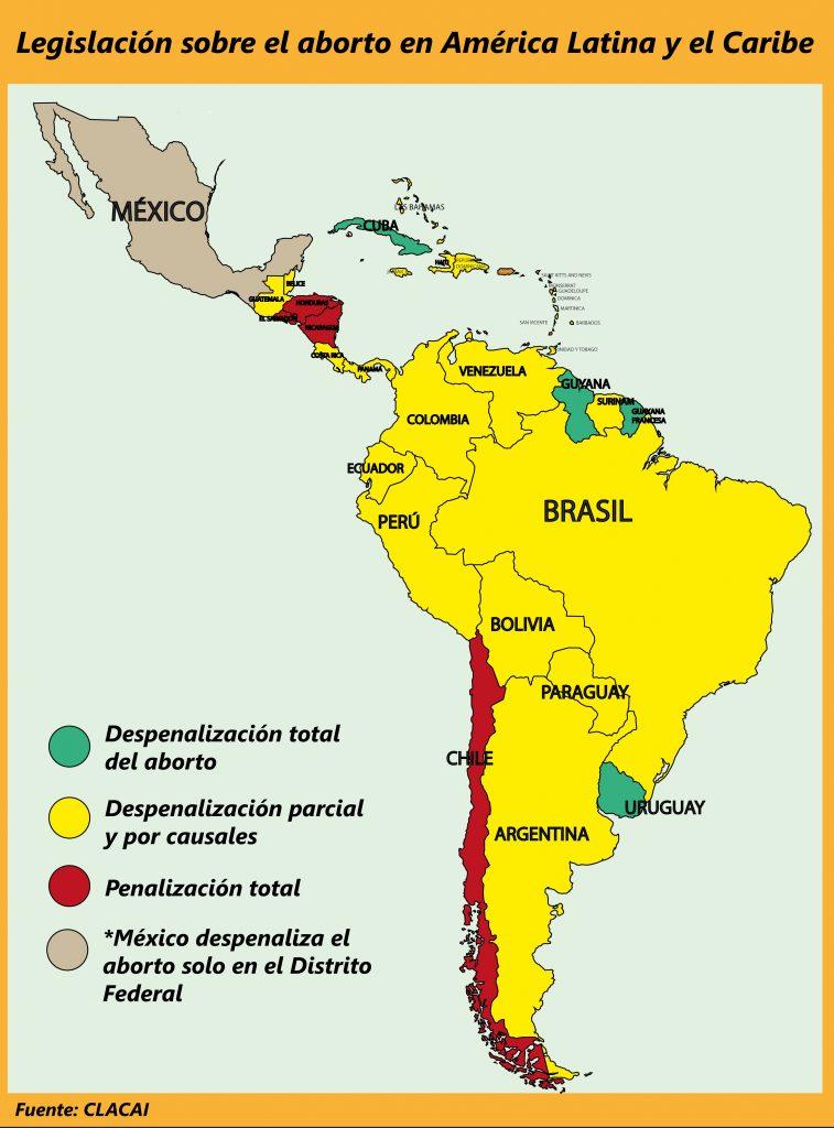 En Latinoamérica la gran mayoría de países despenaliza el aborto de forma parcial