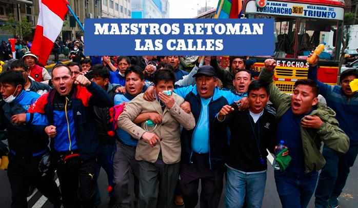 Reprimen nueva huelga de docentes en Lima