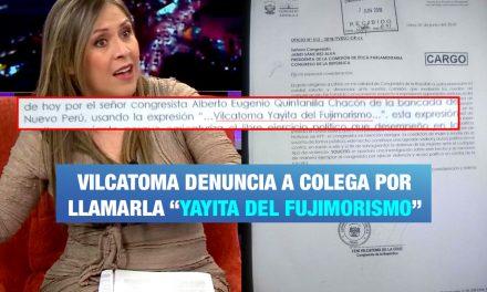 """Vilcatoma denuncia a su colega por llamarla """"Yayita del fujimorismo"""""""