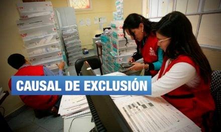 ¿Qué es causal de exclusión en la reglamentación vigente del JNE?