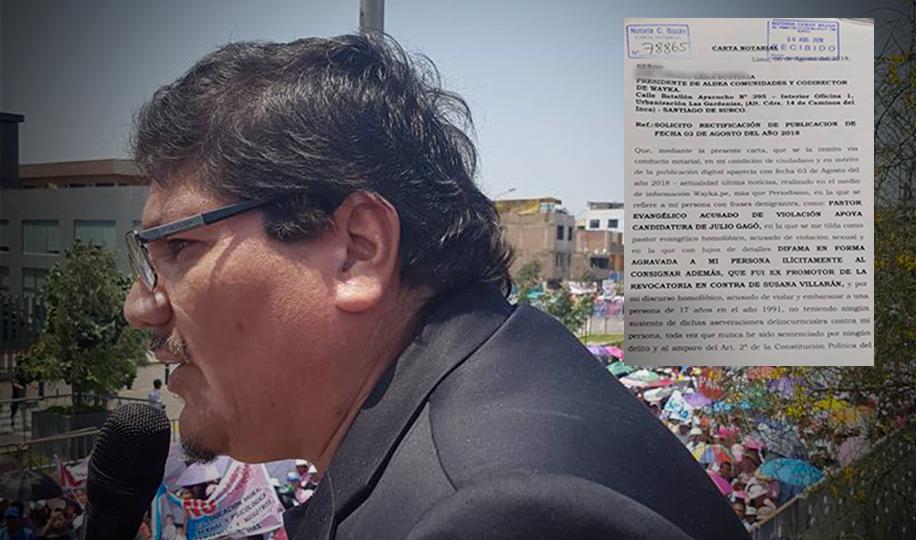 Pastor evangélico Linares solicita rectificación