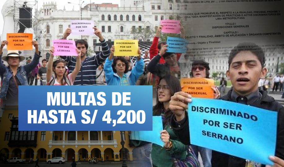 Ordenanza sancionará discriminación en comercios de Lima