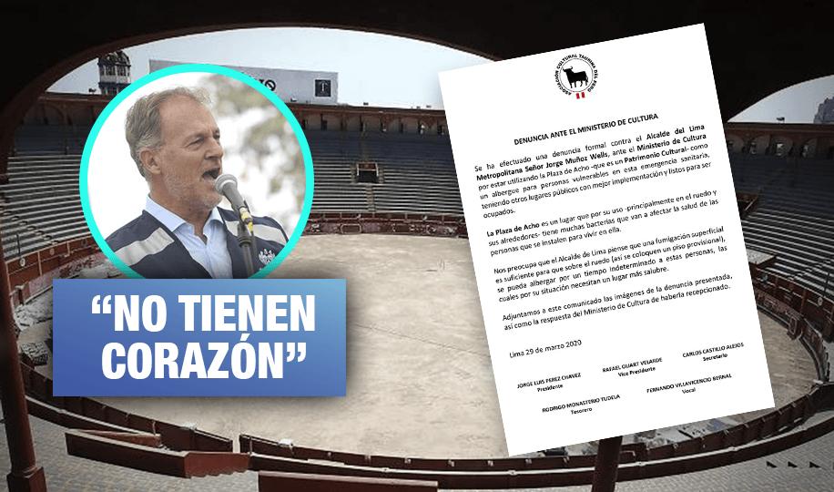 Taurinos denuncian a Municipalidad de Lima por usar plaza de Acho como albergue