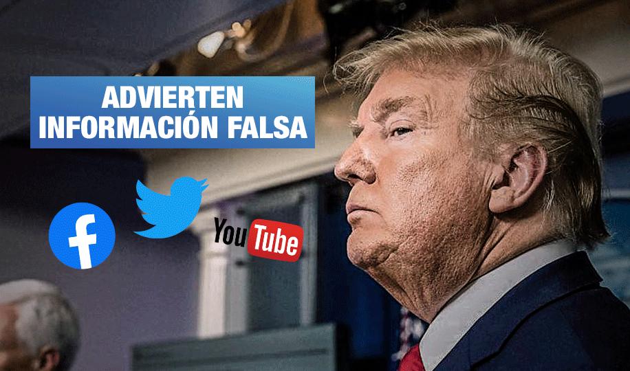 Redes sociales en alerta por mensajes engañosos de Trump y desinformación