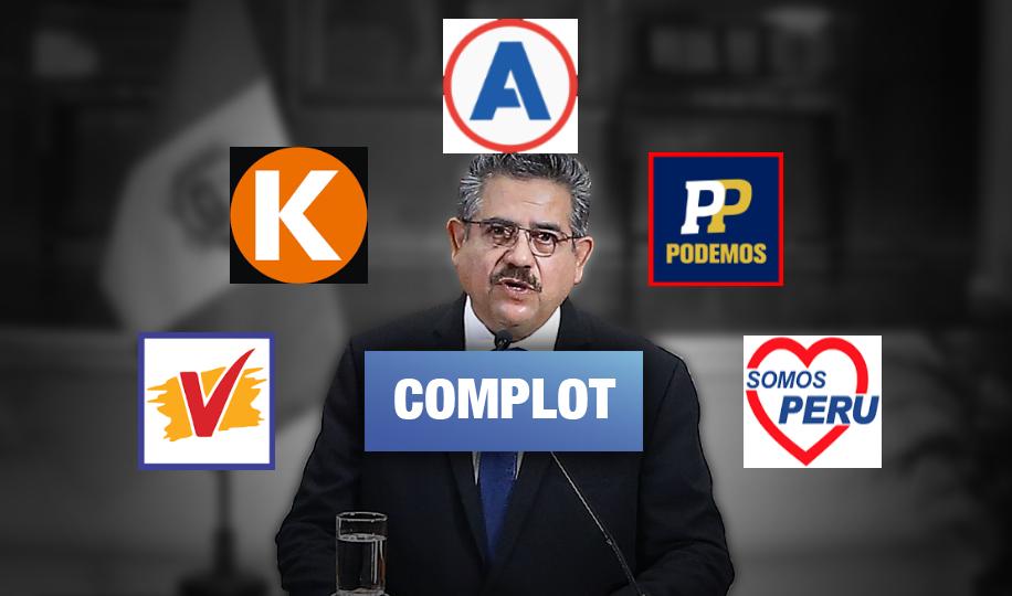 Voceros de APP, Podemos, UPP, FP y Somos Perú reunidos con Merino antes de vacancia