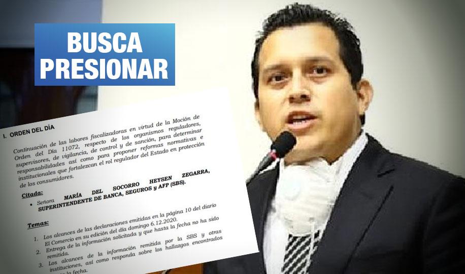 José Luna cita a jefa de SBS por advertir riesgo en sus pedidos de 'información confidencial'