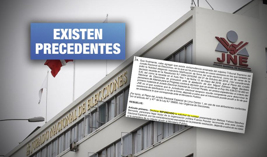 JNE ya rechazó en elecciones pasadas pedidos de nulidad por presuntas firmas falsas