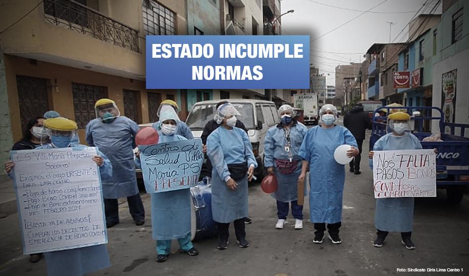 Personal de salud de Diris Lima Centro 1 denuncian que no les pagan bonos desde 2020